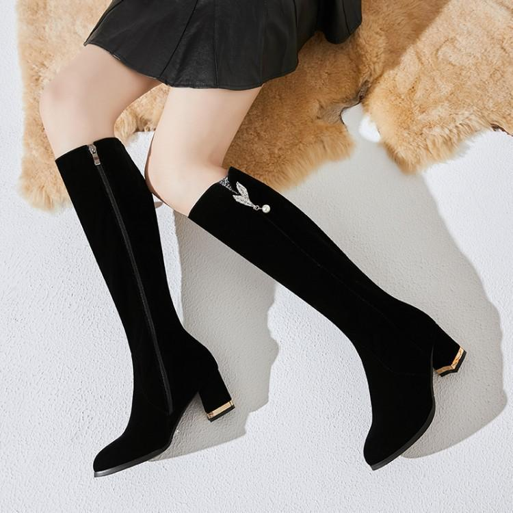 Winter spring middle heel long boots 2020 new ladies girls spring Winter match