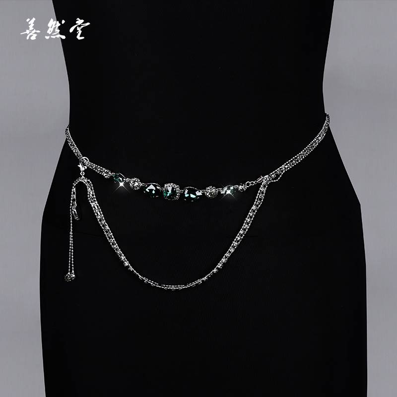 Belly dance training suit 2019 new waist chain dance performance accessories gemstone anti hook chain water drill hot selling