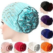 穆斯林頭巾新款 包頭帽 燙鉆雙色盤花帽 歐美潮流帽 新款