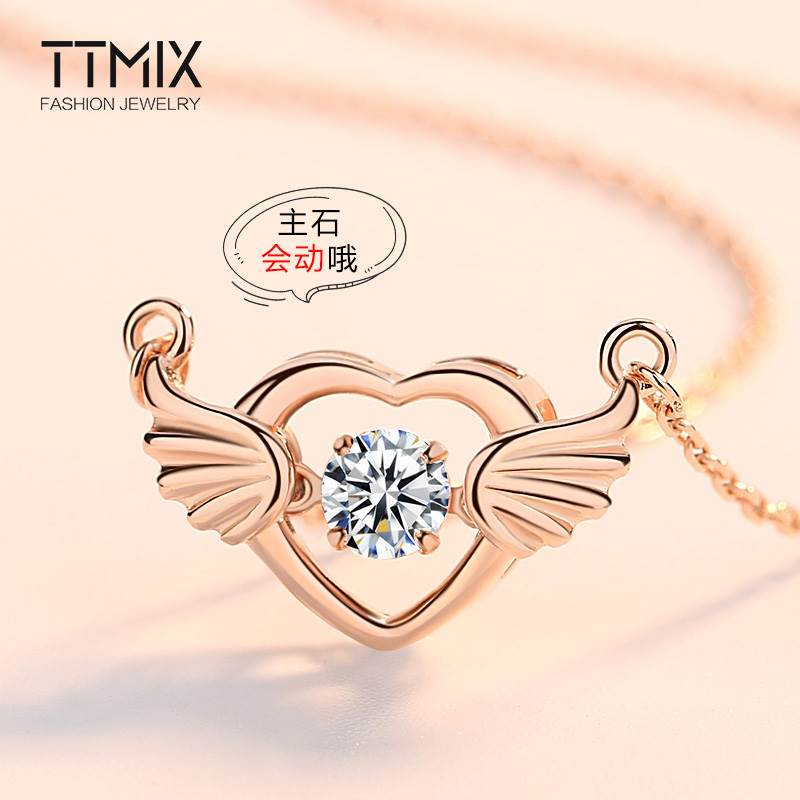 跳动的心天使之翼S925纯银项链女男情侣款锁骨链轻奢玫瑰火热畅销