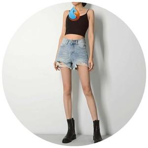 2020年夏季高腰牛仔裤女短裤热裤韩版休闲破洞女款蓝色阔脚裤