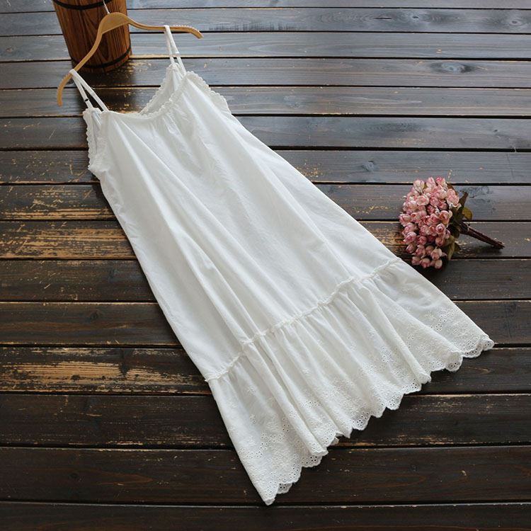 5553 sweet summer Womens solid color stitching embroidery new cotton Japanese adjustable dress suspender skirt