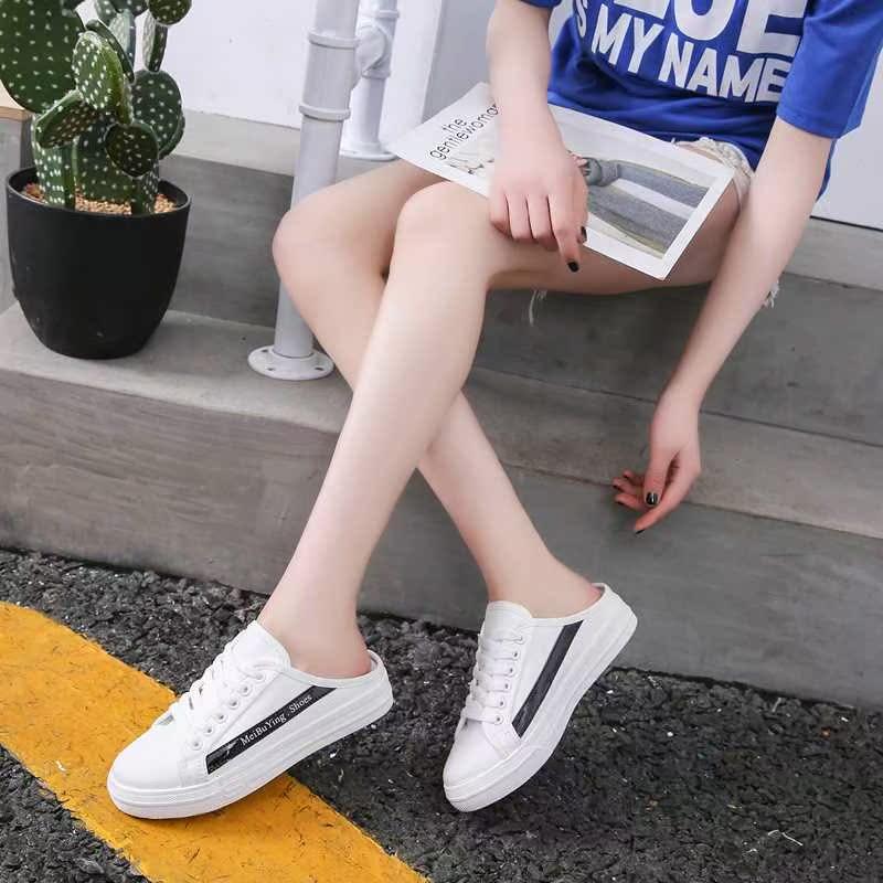 网红懒人鞋帆布半拖鞋女2019新款包头拖鞋外穿半托单鞋百搭鞋拖夏75.25元包邮
