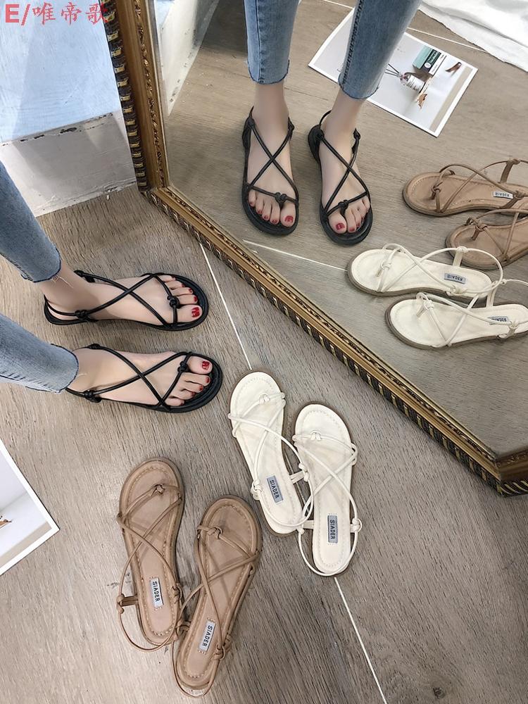 (用5元券)2019新款女夏平底夹脚学生风沙滩鞋