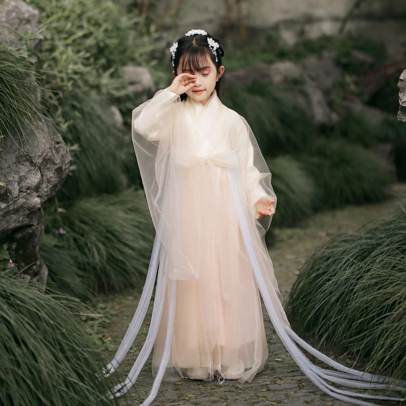 满138元可用5元优惠券女童汉服儿童中国风超仙飘逸公主裙