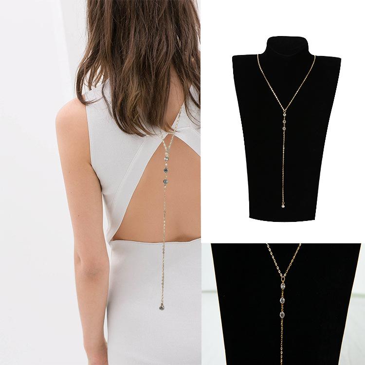 简约镶钻露背后背链项链 身体链 back necklace 简约女士后背链