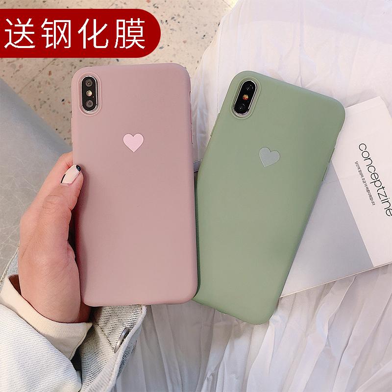 11月29日最新优惠ins风简约爱心oppoA7X手机壳f9网红a3/a1抹茶绿A5磨砂A7潮牌可爱