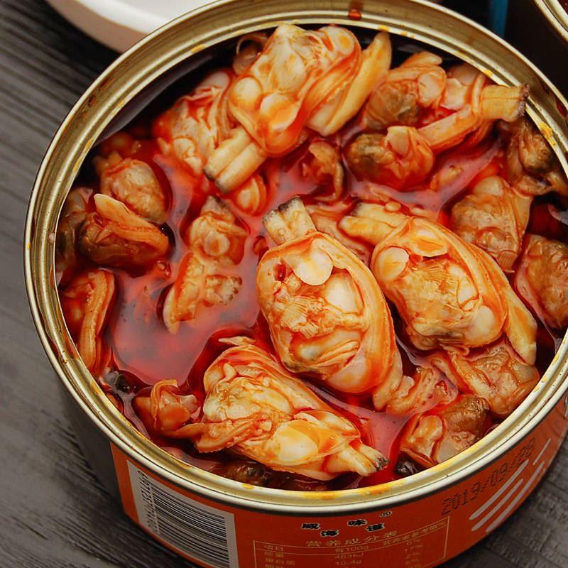 。网红麻辣小海鲜花蛤肉扇贝肉八爪鱼罐头即食熟食捞汁海鲜