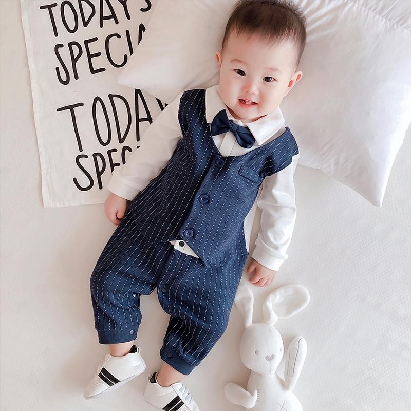 婴儿衣服春夏季装0-3个月宝宝宴会礼服男哈衣满月百日周岁连体衣,可领取5元天猫优惠券