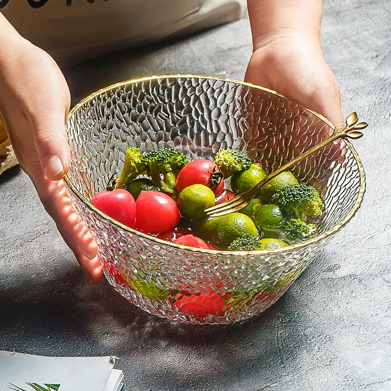 日式透明沙拉碗玻璃個性家用北歐單個水果盤大碗創意少女可愛餐具