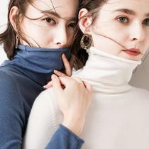秋冬毛衣女加厚堆堆领修身长袖短款套头高领毛衣针织打底衫大码