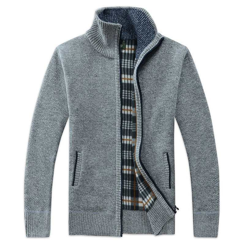 Autumn and winter warm mens sweater mens Korean zipper stand collar mens knitted cardigan Plush thick coat