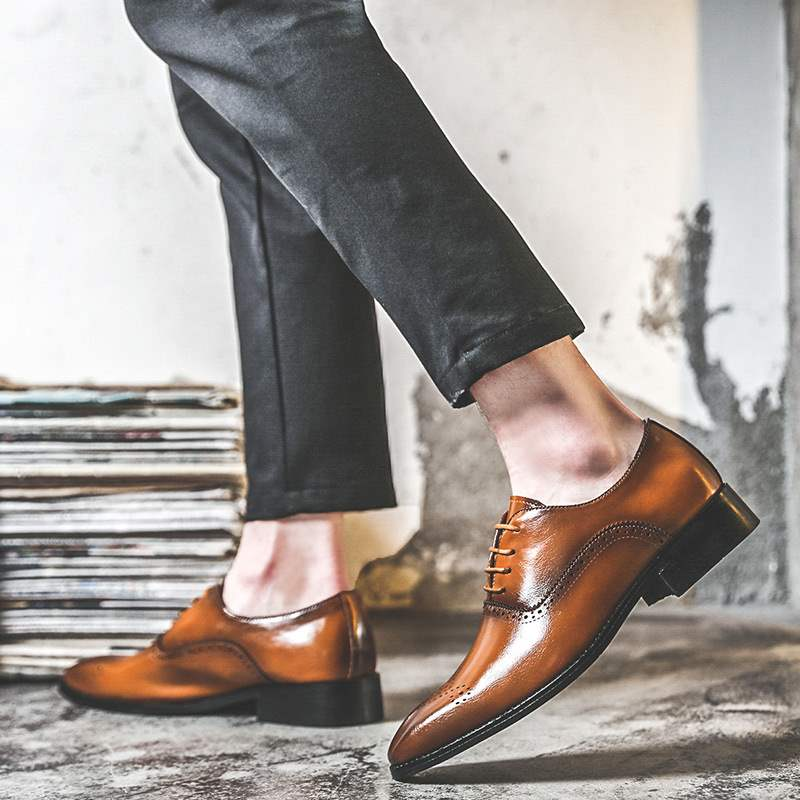 Italian mens shoes wedding shoes 2020 Brown formal business Oxford carved lace up shoes