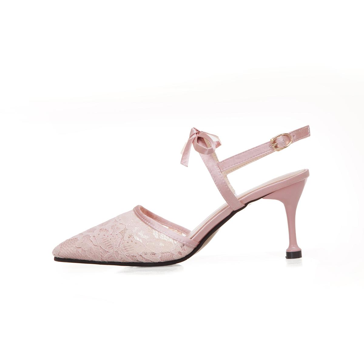 纪刻2019夏季新款凉鞋女鞋包头一字式扣带布细跟橡胶2019年高跟