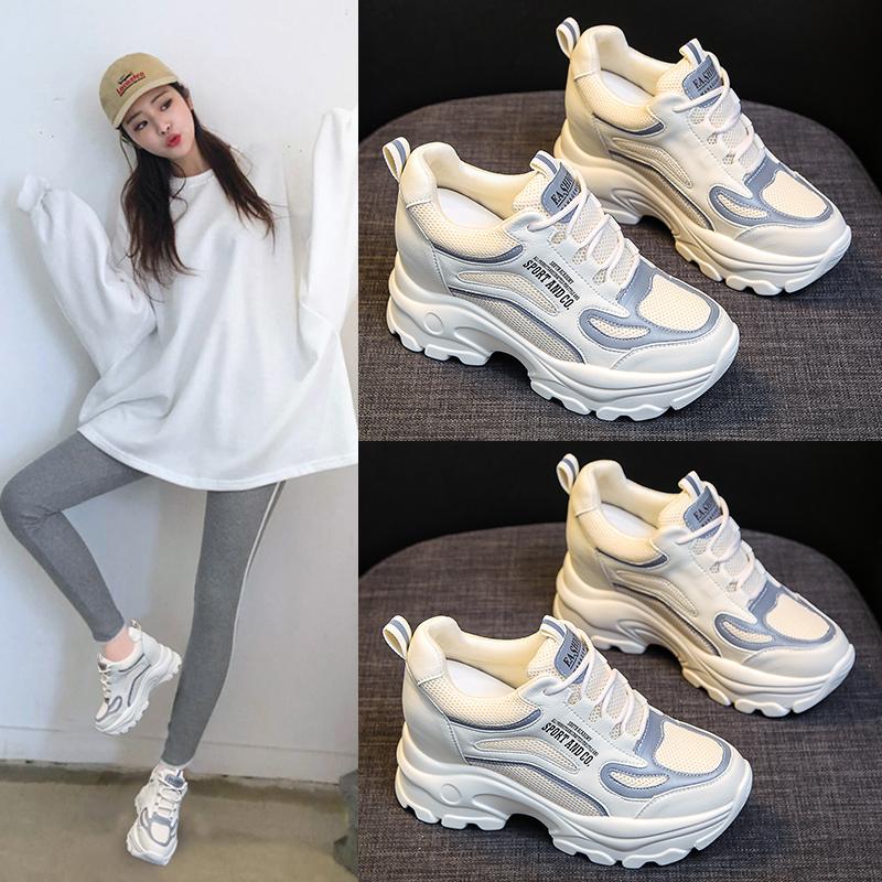 內增高8cm小白鞋女2020夏季新款百搭厚底松糕休閑顯瘦老爹鞋ins潮