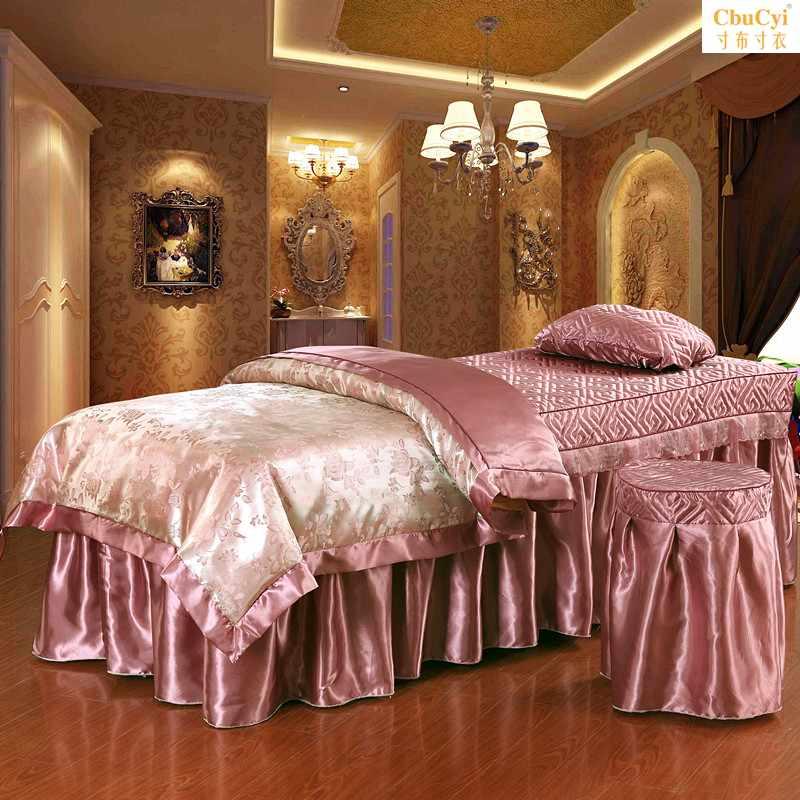 美容美体床罩四件套180*60 梯形高档蕾丝按摩床品发 特价