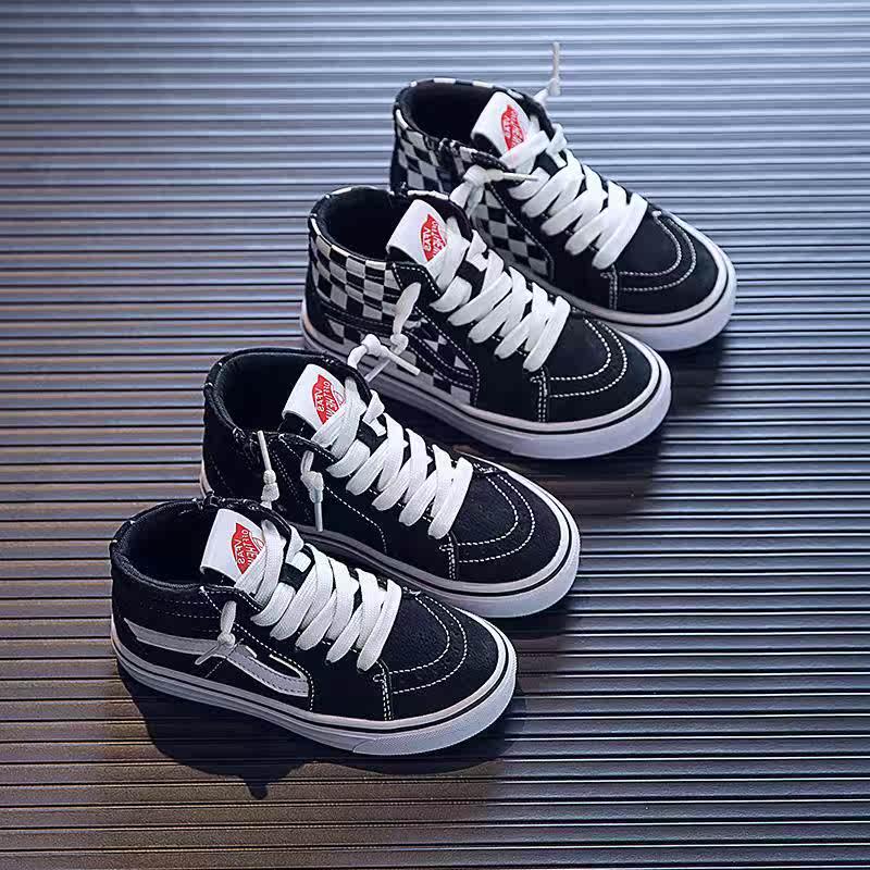 巴啦巴啦啦儿童板鞋男童鞋子女童高档秋款冬季运动高帮加绒二棉型