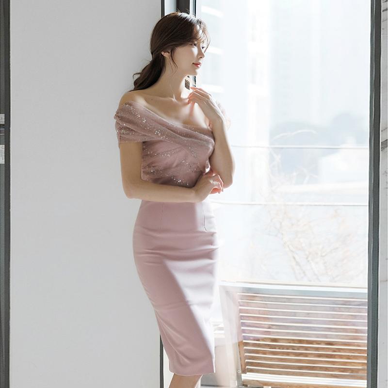 11月02日最新优惠粉色正式场合修身包臀性感感连衣裙