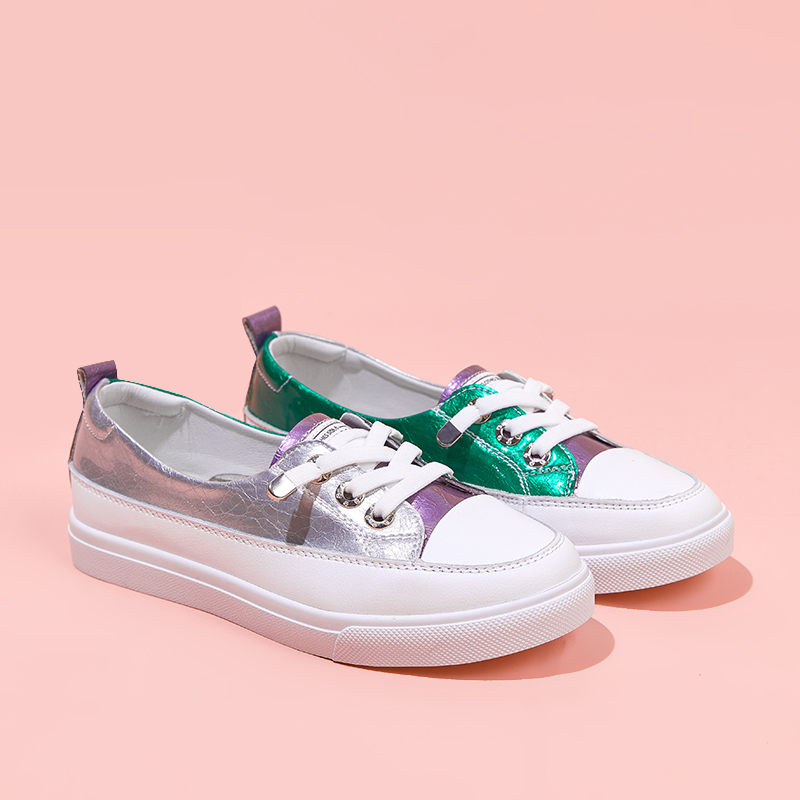 Womens shoes 2020 new spring leather small white shoes womens sports casual shoes ins versatile lazy single shoes womens flat sole