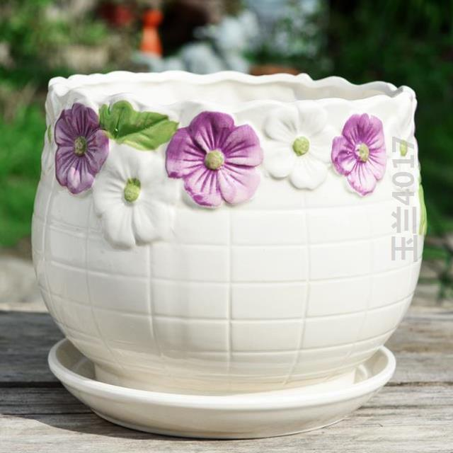 Meat flowerpot bottom with Korean small beautiful large diameter ceramic basin new indoor personalized family flower plate