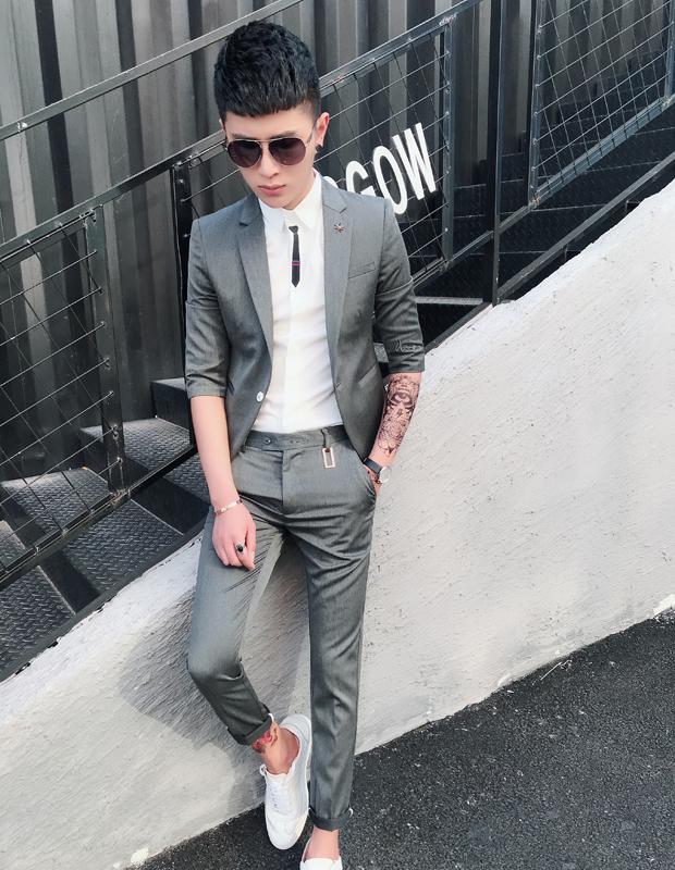 辑彩春夏中袖小西装男外套青年韩版修身帅气发型师七分袖西服套装