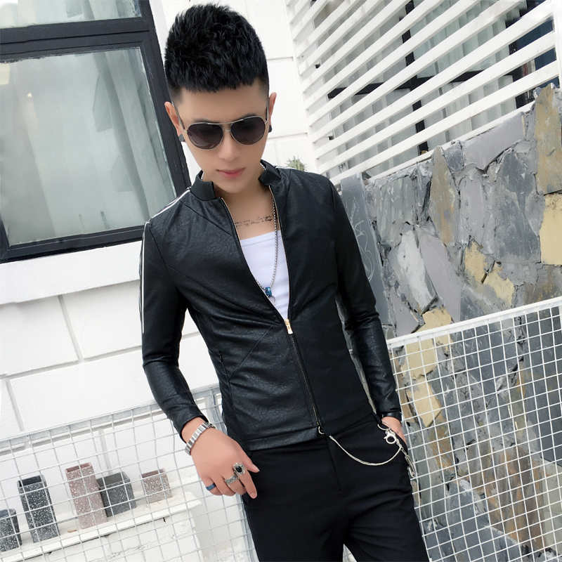 Collection of color stand collar Leather Mens 2019 new spring and autumn slim fit Korean motorcycle wear leather jacket mens short coat trend