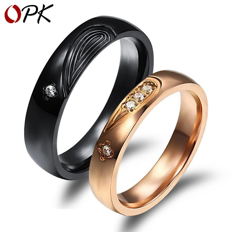 Diamond plated love puzzle couple ring personality mans ring girl ring student couple ring round ring end ring