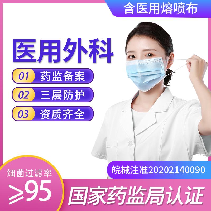口罩一次性医用外科口罩100只装防尘透气成人防护医用口罩21