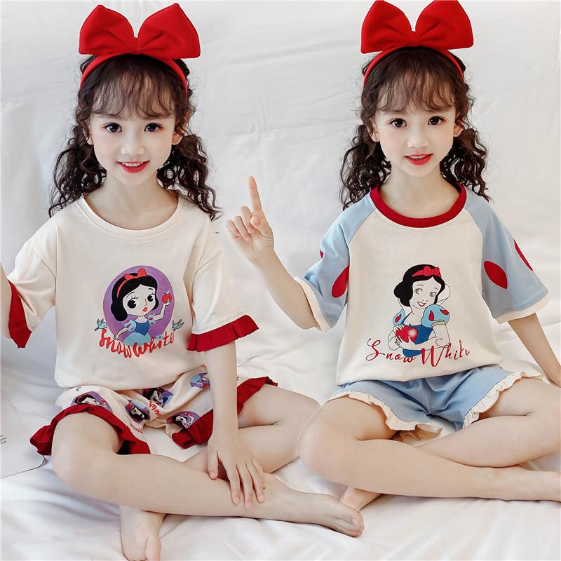 儿童短袖睡衣夏中大童女童薄款纯棉家居服小女孩宝宝卡通短裤套装