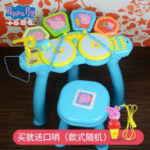 小猪佩奇架子鼓儿童初学者男女孩电子鼓敲打迪士尼爵士鼓玩具礼物