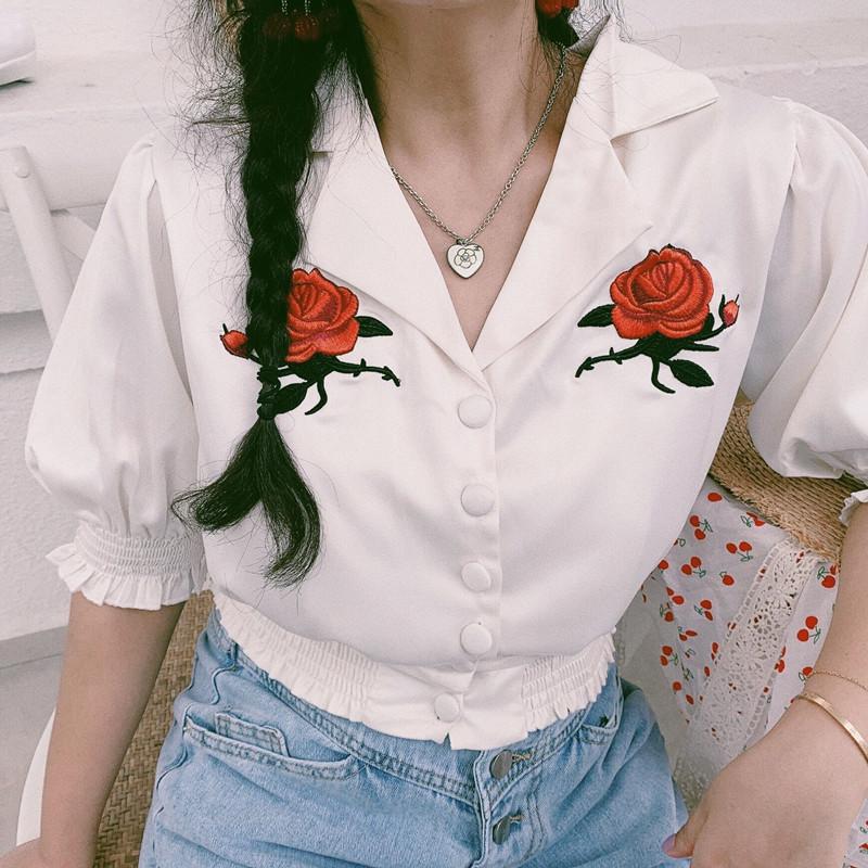 陈姑娘 2020春夏复古法式刺绣玫瑰花宫廷风翻领短袖衬衫上衣女