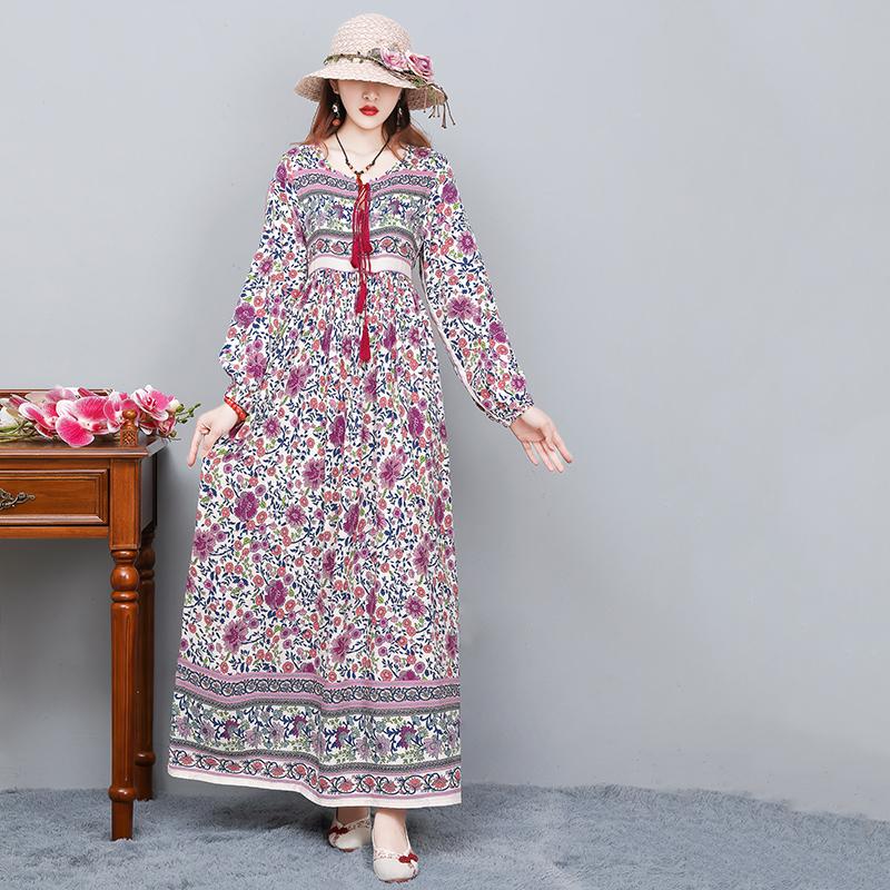 包邮民族风棉质印花连衣裙女春夏季长款大摆裙宽松波西米亚长裙子