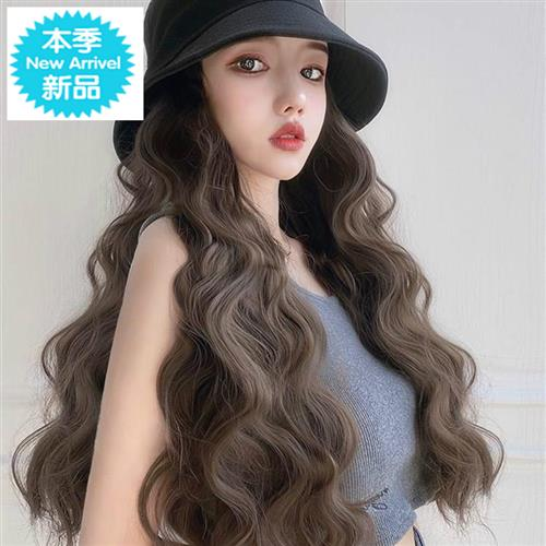 New net red hair wig hat with detachable B long curly hair autumn women fashion 2020