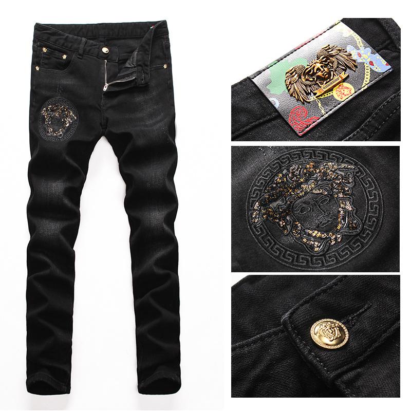 Popular high-end pants 2020 new fanjiazhu Embroidery Flower Logo Black mens slim fit jeans for men