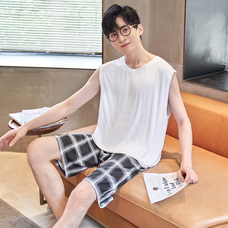Genuine mens pajamas summer modal vest thin summer youth mens plus size home wear