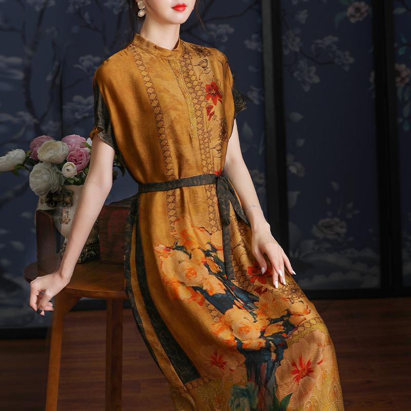 高端高贵气质夫人重磅双绉真丝连衣裙杭州正宗桑蚕丝新款宽松大牌