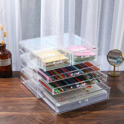 亚克力抽屉A4收纳盒透明大号化妆文具彩妆桌面笔刷架甲油胶整理柜