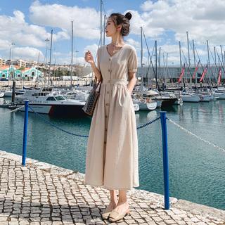 连衣裙女夏2020流行新款桔梗裙法式初恋裙子仙女超仙森系气质长裙