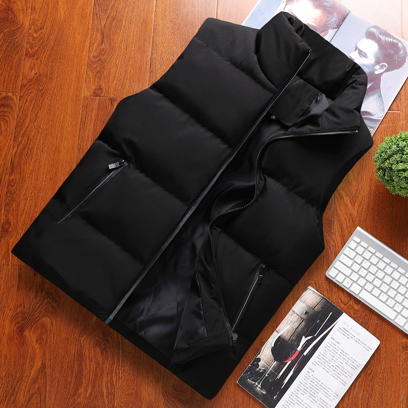 Mens casual vest sleeveless cantilevered stand collar Vest Jacket youth solid autumn winter cotton coat large