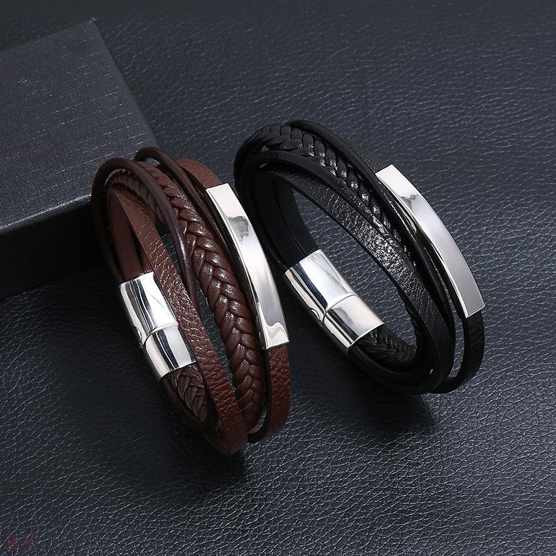 跨境爆款不锈钢皮革手链简约多层牛皮复古编织钛钢手镯手环