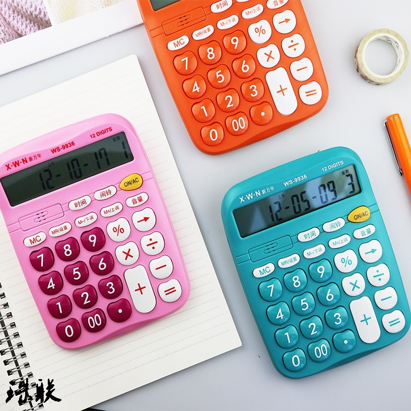 Computing machine office big button multi-functional accounting color voice calculator 12 digit multi-functional office finance
