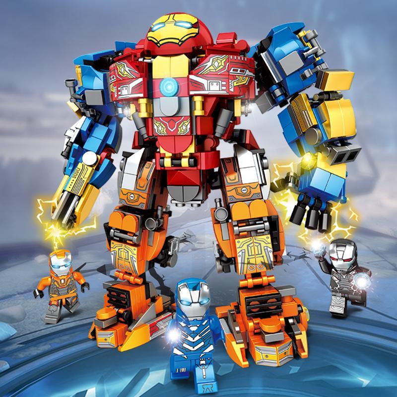 乐宜76011复仇者联盟钢铁侠反浩克战甲拼装积木儿童益智玩具107A