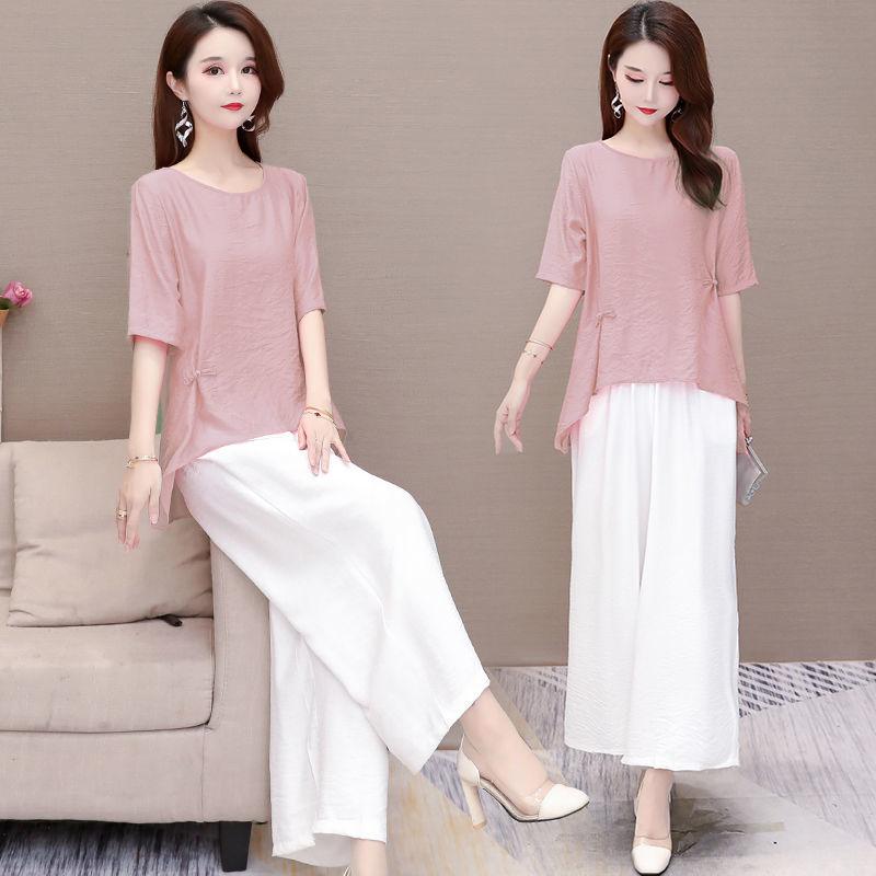 单套装阔腿裤套装2021夏新款韩版短袖宽松显瘦时尚减龄两件套