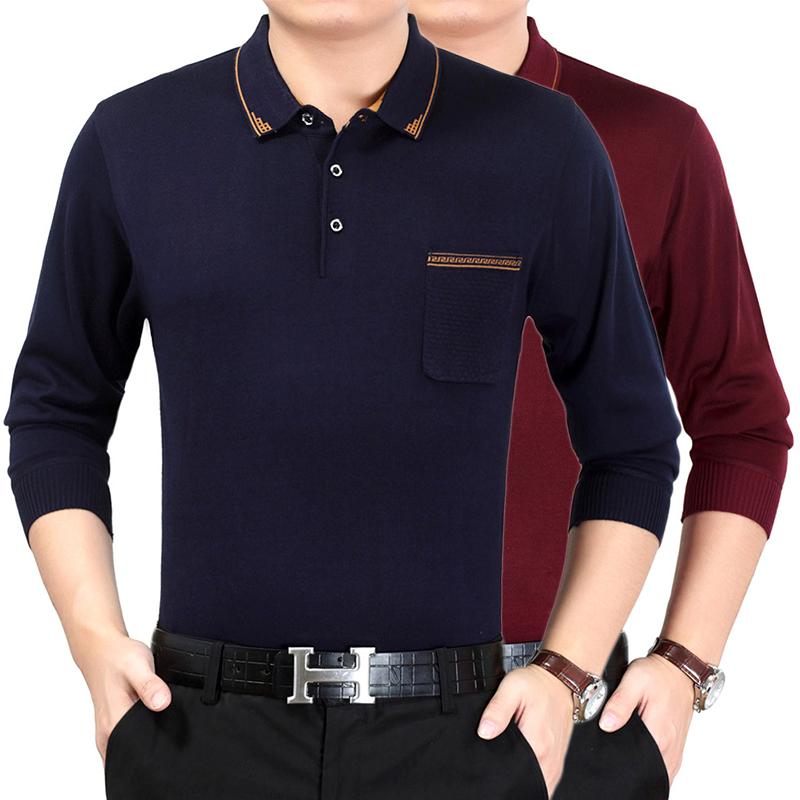 高档品牌男装翻领针织长袖T恤上衣春季中年爸爸装长袖针织T恤