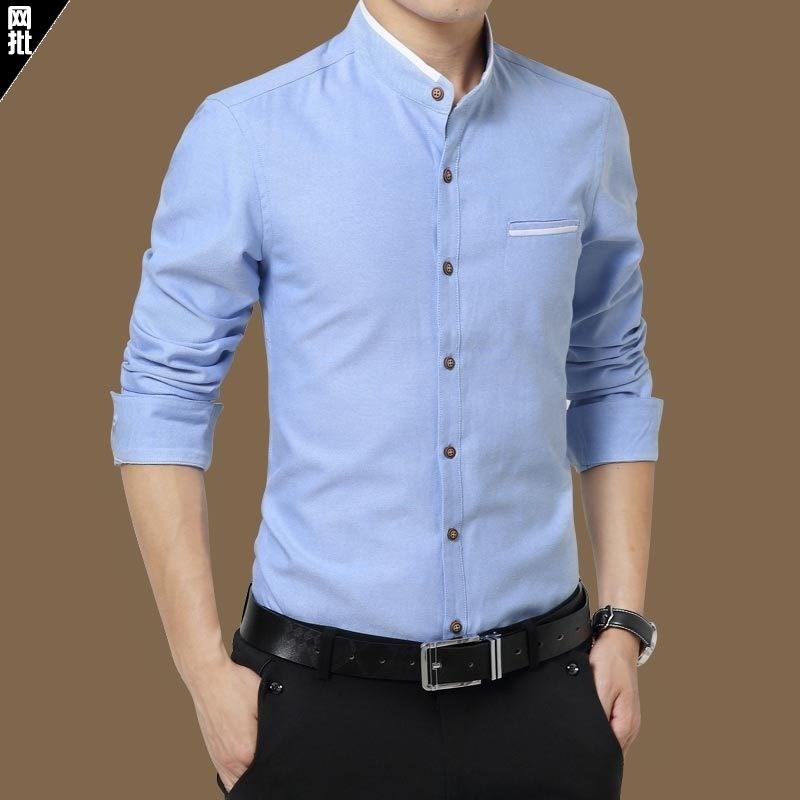 Zhongshan suit high collar mens wear Chinese style stand collar shirt mens long sleeve round neck clothes Zhongshan collar shirt spring.