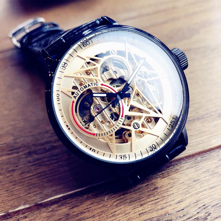 全自动镂空机械表男士手表真皮带概念高初中学生运动表潮品牌个性
