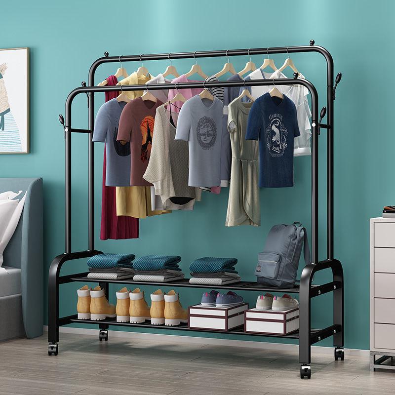 单杆式晾衣架落地简易晾衣杆家用卧室晒衣架折叠室内挂衣服架子