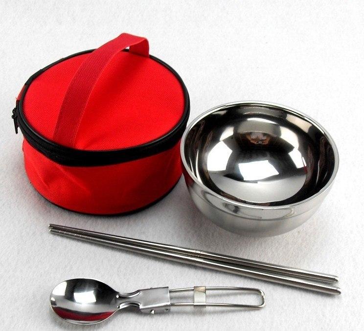 便携式不锈钢餐具单人装隔热双层碗筷勺成人儿童旅游外带套装包邮