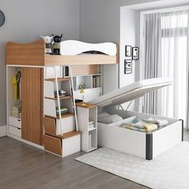 儿童高低床多功能上下床小户型书桌床一体交错式上下铺榻榻米双层图片