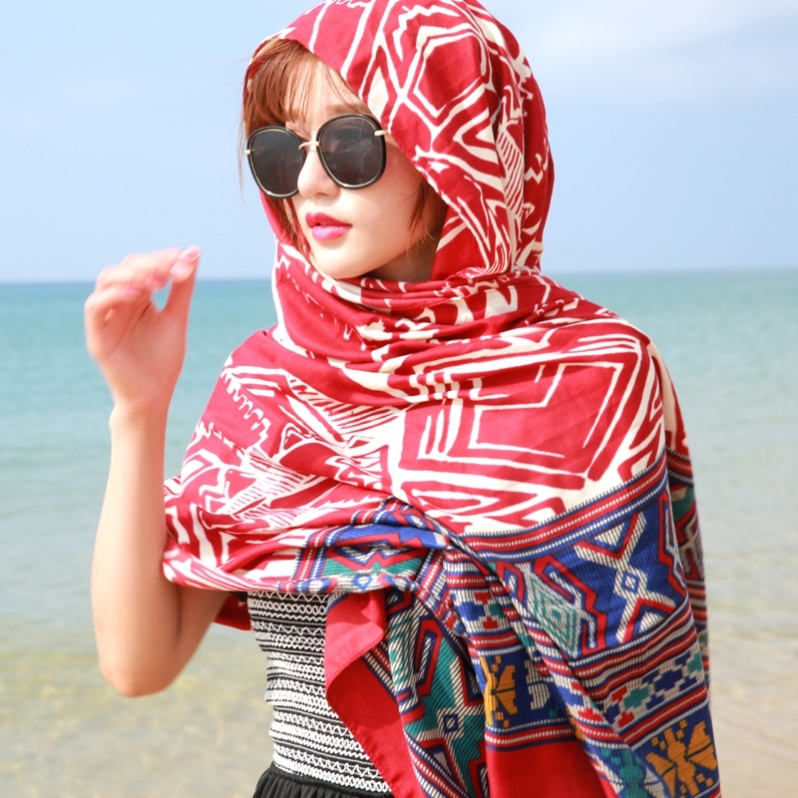 Beach towel wrap skirt versatile dual purpose silk scarf print seaside scarf cool thin new product same summer shawl